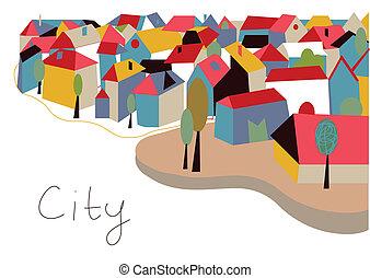 città, case, scheda, albero