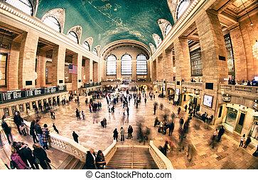 città, centrale, terminale, york, grande, interno, nuovo