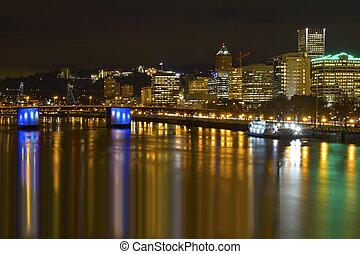 città, centro, orizzonte, notte, zona portuale, portland