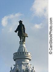 città, cima, -, filadelfia, william, statua, penn, salone