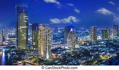città, città, bangkok, notte