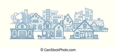 città, città, differente, arte, costruito, residenziale, suburbano, houses., district., illustrazione, costruzioni, panoramico, vettore, vario, architettonico, cityscape, linea, style., paesaggio, vista