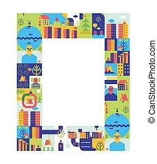 città, città, sagoma, cornice casa, lago, fondo., presentation., strada., fiume, strada, edifici.