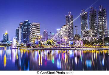 città, città, tailandia, notte, bangkok