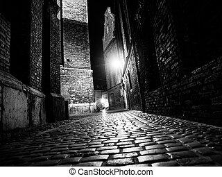 città, cobbled, vecchio, illuminato, strada, notte
