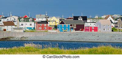città, colorare, multi, attraverso, terranova, piccolo, newfoundland., strade, case, linea, villaggi