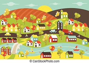 città, colorito, case