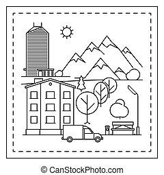 città, coloritura, pagina, paesaggio, bambini