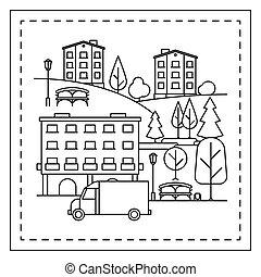 città, coloritura, pagina, paesaggio