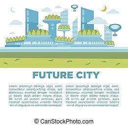 città, concept., moderno, illustrazione, vettore, fondo, cityscape, futuro, paesaggio