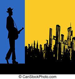 città, concerto, grande, chitarra, vettore, aviatore, manifesto, acustico, blues, o, calesse