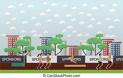 città, concetto, appartamento, illustrazione, vettore, stadio, style.