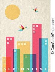 città, concetto, diversità, stagione primaverile, colori, tempo