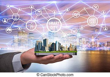città, concetto, far male, innovazione