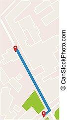 città, concetto, illustration., perno, puntatore, map., vettore, navigatore, navigazione, gps