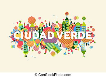 città, concetto, lingua, illustrazione, verde, spagnolo