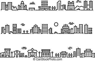 città, contorno, affari, paesaggio., suburbano, cars., centri, uffici, trasporto, cityscape, pubblico, paesaggio, grattacieli