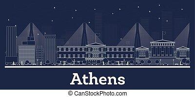 città, contorno, atene, orizzonte, grecia, bianco, edifici.