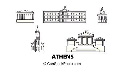 città, contorno, illustrazione, set., landmarks., atene, orizzonte, vettore, viste, grecia, linea, simbolo, viaggiare