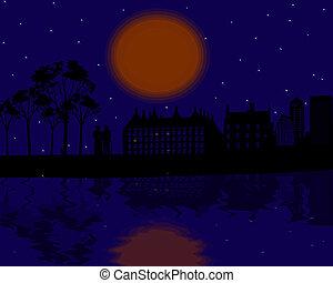 città, coppia, silhouette, vendemmia