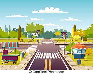 città, corsia, venditore, cibo, illustrazione, carrelli, strada, traffico, marciapiede, incrocio, cartone animato