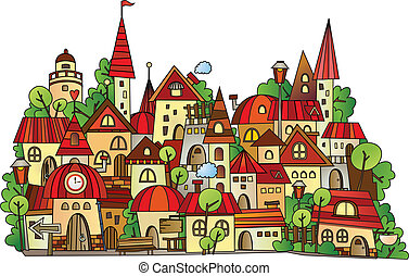 città, costruzione, cartone animato, vettore
