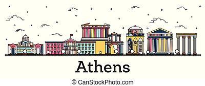 città, costruzioni, contorno, colorare, isolato, atene, orizzonte, white., grecia