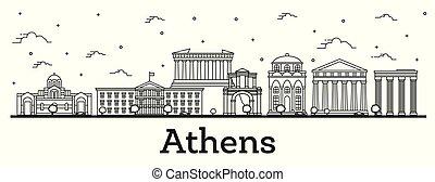 città, costruzioni, contorno, isolato, atene, orizzonte, white., storico, grecia