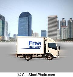 città, costruzioni, furgone, ufficio, libero, consegna,...