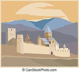 città, costruzioni, grafico, georgia, template.