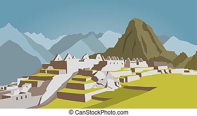 città, costruzioni, grafico, machu, template., picchu, peru.