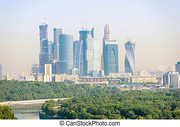 città, costruzioni, grattacieli, ufficio, mosca, moderno
