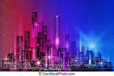 città, costruzioni, illuminato, costruzioni, architettura, strada, illustrazione, downtown., orizzonte, megapolis, notte, cityscape, grattacieli