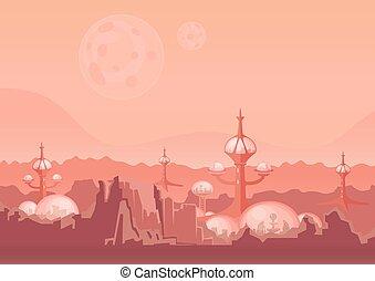 città, costruzioni, illustration., spazio, mars., vettore, futuro, umano, colony., colonizzazione, futuristico