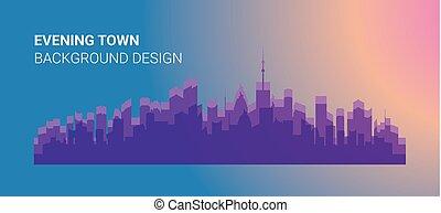 città, costruzioni, illustrazione, silhouette, vettore, colori