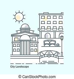 città, costruzioni, linea fissa, bandiera, paesaggio