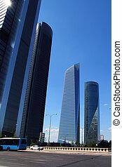 città, costruzioni, moderno, grattacieli, madrid