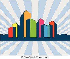 città, costruzioni, moderno, logotipo