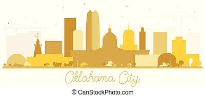 città, costruzioni, silhouette, dorato, oklahoma, isolato, orizzonte, white.