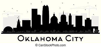 città, costruzioni, silhouette, oklahoma, isolato, orizzonte, nero, white.