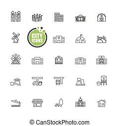 città, costruzioni, vettore, set, illustrazione