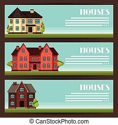 città, cottage, case, disegno, bandiere orizzontali