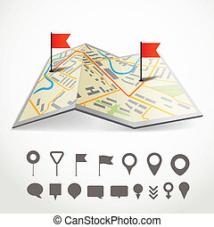 città, differente, mappa, astratto, piegato, collezione, piolini, tracciato