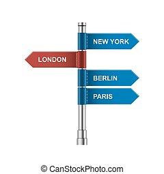 città, direzione, illustration., -, frecce, isolato, vettore, segni, bianco, strada