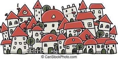 città, disegno, tuo, fondo, schizzo