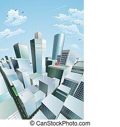 città, distretto finanziario, centro, moderno, cityscape