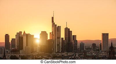 città, distretto finanziario, orizzonte, tramonto, francoforte