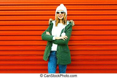 città, donna, moda, proposta, fondo, sorridente, rosso, felice