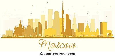 città, dorato, mosca, silhouette., orizzonte, russia