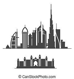 città, dubai, silhouette, fondo., orizzonte, vettore, bianco